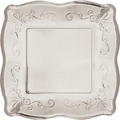 "Silver Metallic 10"" Pottery Scalloped Embossed Square Paper Plates"