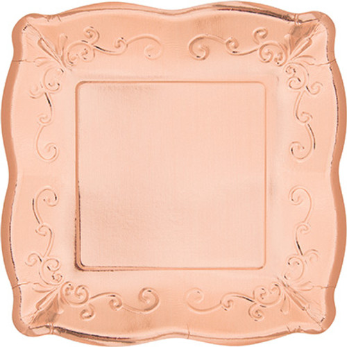 "Rose Gold Metallic 10"" Pottery Scalloped Embossed Square Paper Plates"