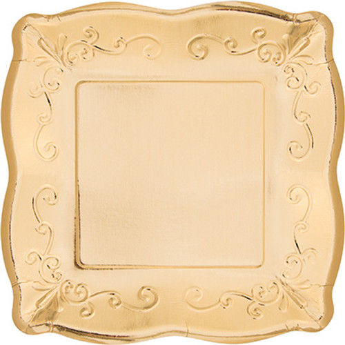 "Gold Metallic 10"" Pottery Scalloped Embossed Square Paper Plates"