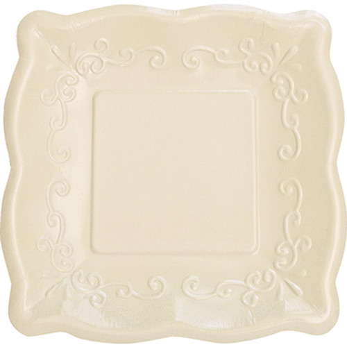 "Linen 7"" Pottery Scalloped Embossed Square Paper Plates"