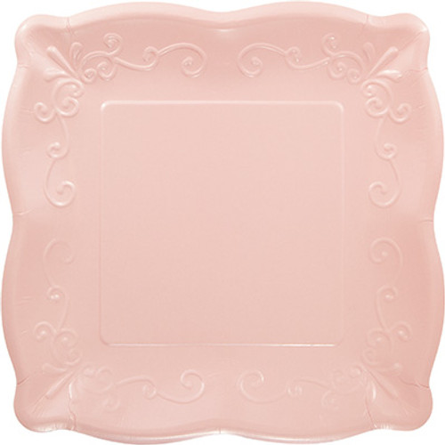 "Pink 10"" Pottery Scalloped Embossed Square Paper Plates"