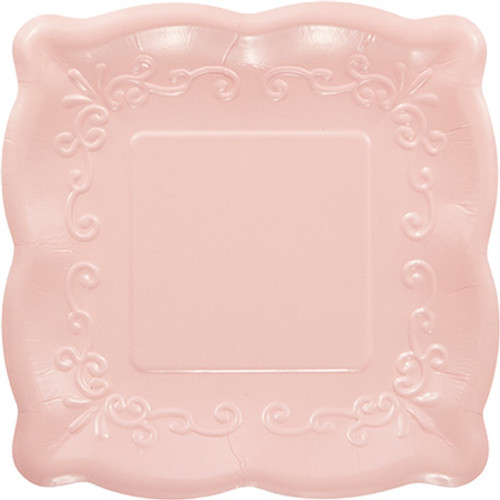 "Pink 7"" Pottery Scalloped Embossed Square Paper Plates"