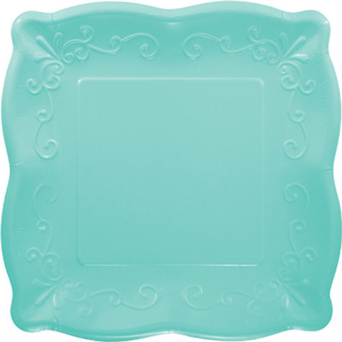 "Teal 10"" Pottery Scalloped Embossed Square Paper Plates"