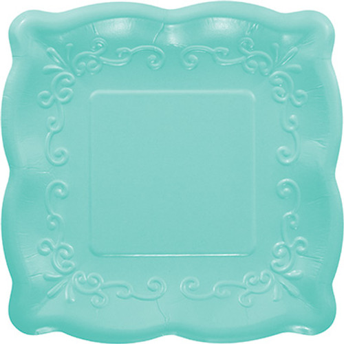 "Teal 7"" Pottery Scalloped Embossed Square Paper Plates"