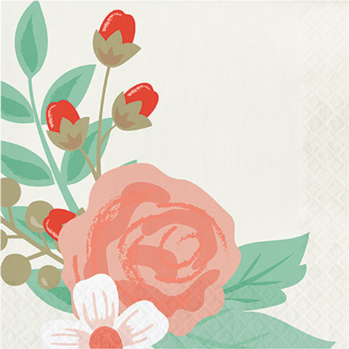 Modern Floral Ivory 3-Ply Lunch Napkins
