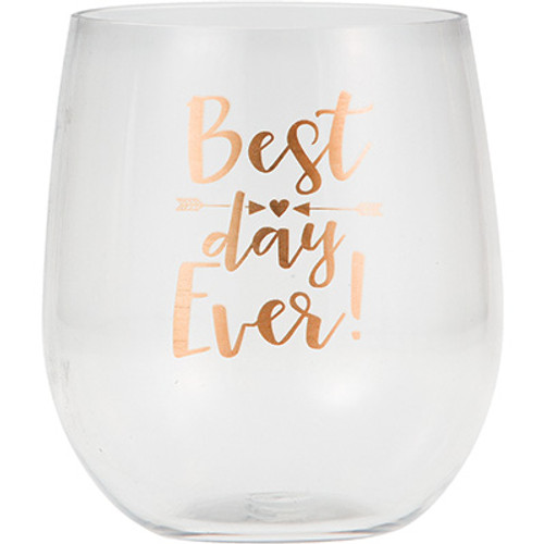Best Day Ever 14 oz Clear Plastic Tumbler Wine Glass