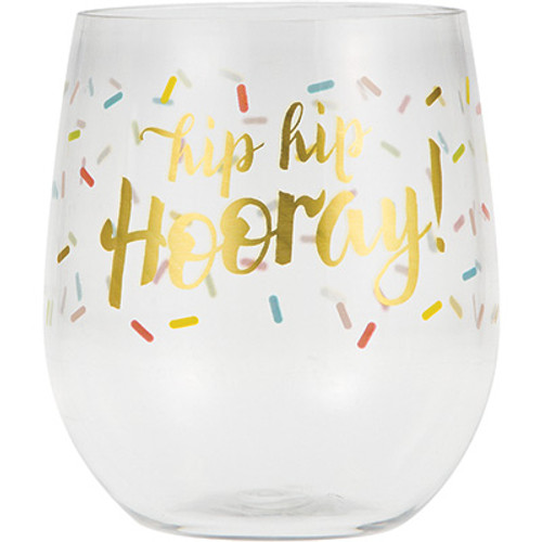 Hip Hip Hooray 14 oz Clear Plastic Tumbler Wine Glass