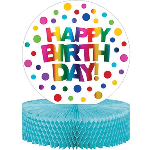 Rainbow Foil Birthday Honeycomb Centerpiece