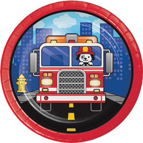 "Flaming Fire Truck 7"" Lunch Plates"