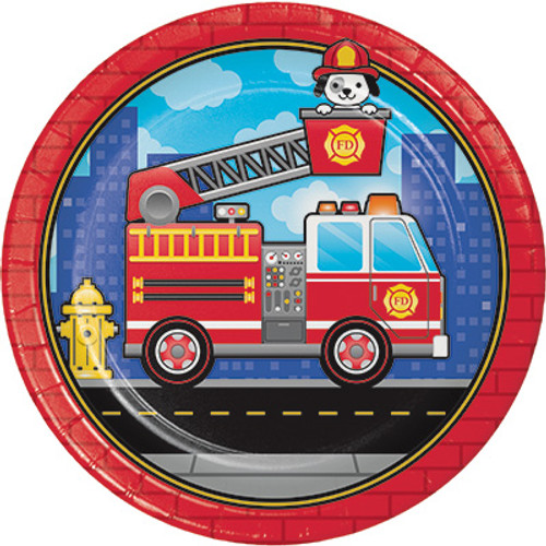 "Flaming Fire Truck 9"" Dinner Plates"