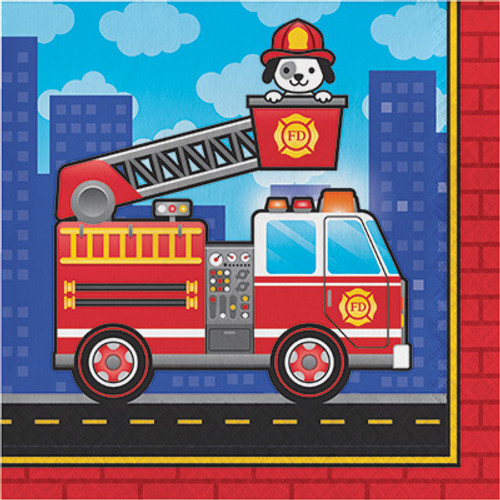 Flaming Fire Truck Lunch Napkins
