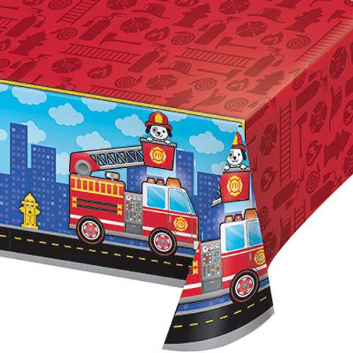 Flaming Fire Truck Plastic Tablecover