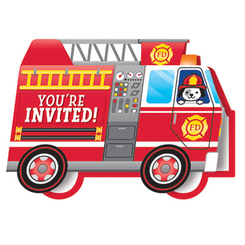 Flaming Fire Truck Pop-up Invitation