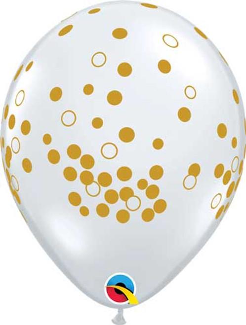 "11"" Diamond Clear Gold Confetti Dots Latex Balloon"