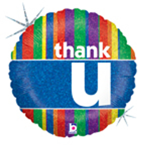 "18"" Colorful Thank You Holographic Balloon"