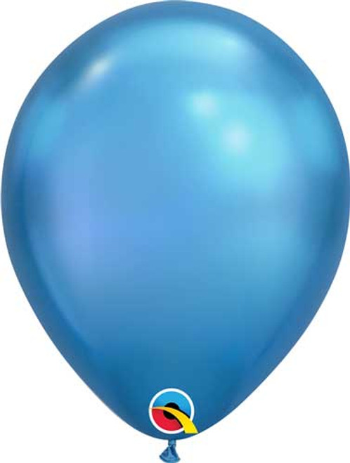 "Qualatex 11"" Chrome Blue Latex Balloon"