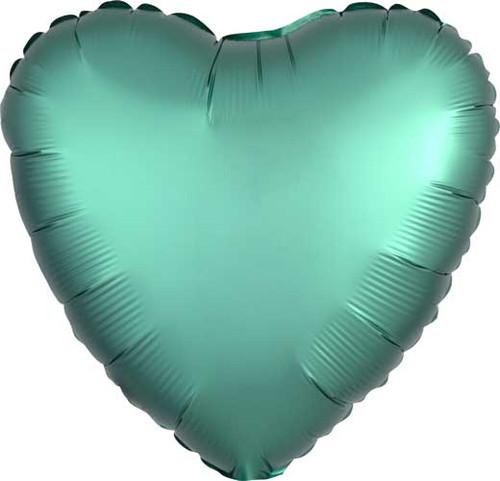 """17"""" Satin Luxe Jade Heart Foil Balloon"""