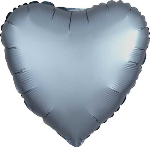 "17"" Satin Luxe Steel Blue Heart Foil Balloon"