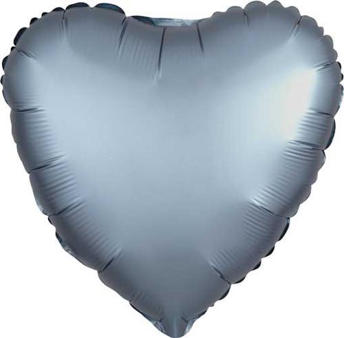"17"" Satin Luxe Steel Blue Heart Foil Balloon"