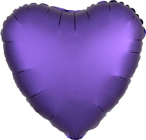 "17"" Satin Luxe Purple Heart Foil Balloon"
