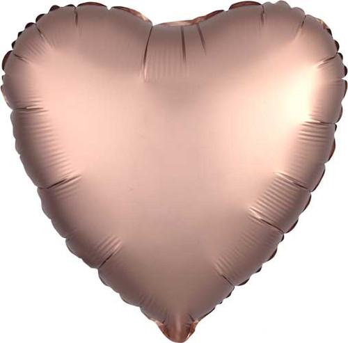 "17"" Satin Luxe Rose Copper Heart Foil Balloon"