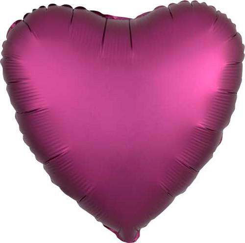 """17"""" Satin Luxe Pomegranate Heart Foil Balloon"""