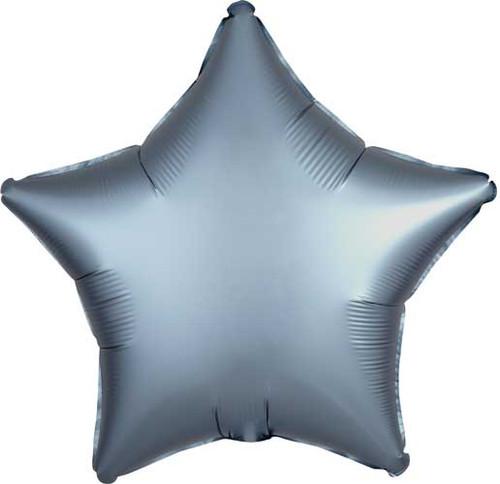 """19"""" Satin Luxe Steel Blue Star Foil Balloon"""