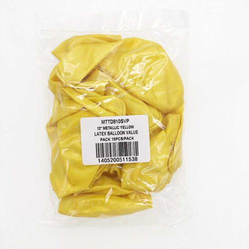 "12"" Metallic Yellow Latex Balloon Pack 15pcs/pack"