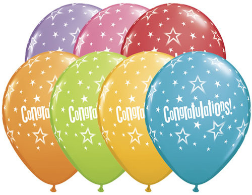 "11"" Congratulations Stars Latex Balloon"