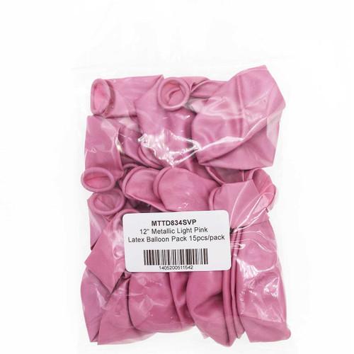 "12"" Metallic Light Pink Latex Balloon Pack 15pcs/pack"