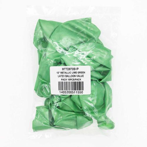 12 Metallic Lime Green Latex Balloon Pack