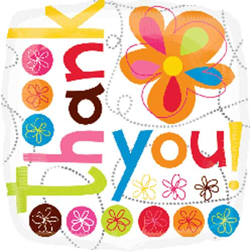 """18"""" Thank You Colorful Flowers Square Balloon"""