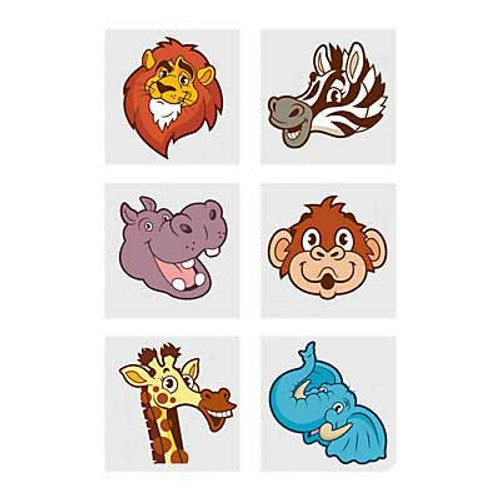 Zoo Animal Tattoos 72pcs/pack