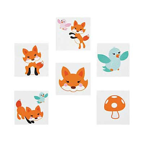 Little Woodland Fox Tattoos 36pcs/pack