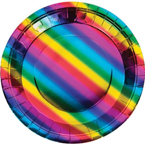 """Rainbow Foil 9"""" Dinner Plates"""