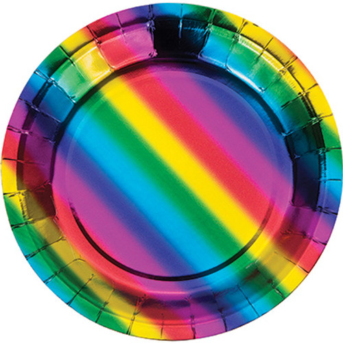 "Rainbow Foil 7"" Lunch Plates"