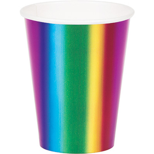 Rainbow Foil 9 oz Paper Cups