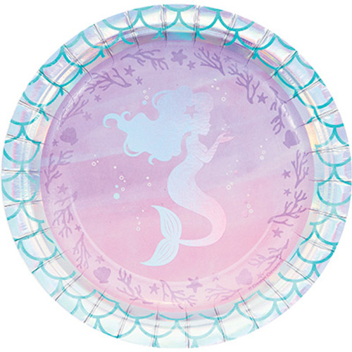 "Mermaid Shine Iridescent 7"" Lunch Plates"