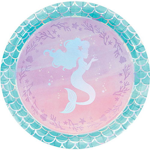 "Mermaid Shine Iridescent 9"" Dinner Plates"
