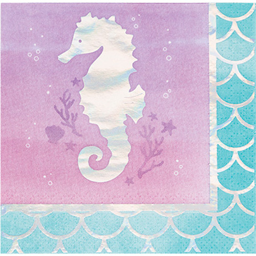 Mermaid Shine Iridescent 3-Ply Beverage Napkins
