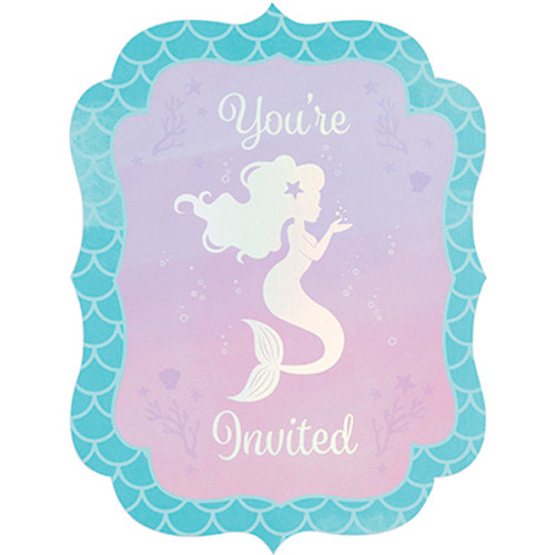 Mermaid Shine Iridescent Postcard Invitations