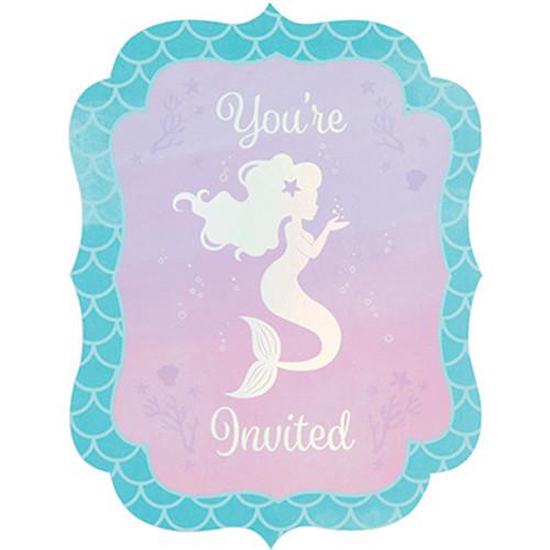 Mermaid Shine Iridescent Postcard Invitations