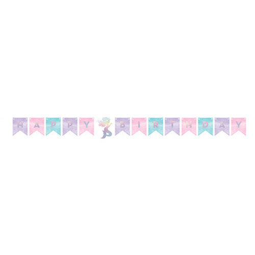 Mermaid Shine Iridescent Happy Birthday Shaped Banner with Twine
