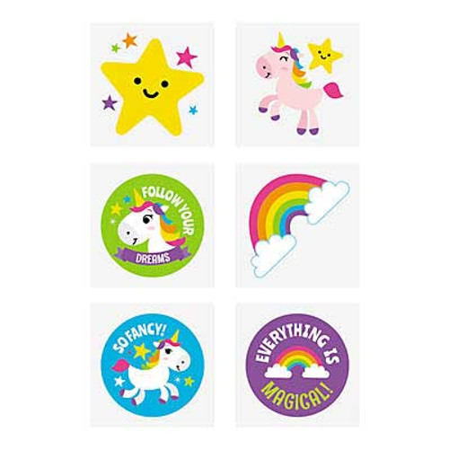 Rainbow Unicorn Tattoos 72pcs/pack