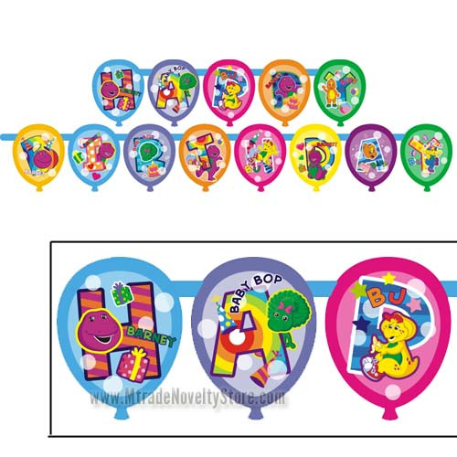 Barney Balloon Birthday Jointed Banner