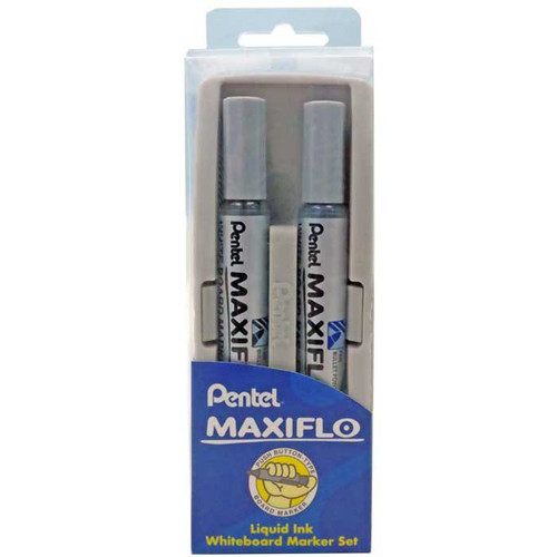 Pentel Whiteboard Duster with MAXIFLO Whiteboard Marker Set MWL5S-A/C-DUSTER