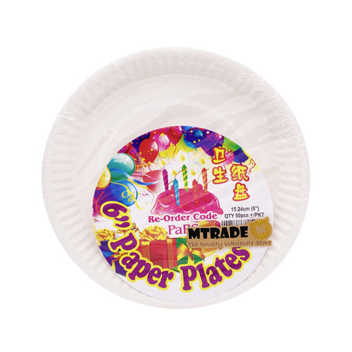 "Disposable 6"" White Paper Plates 50pcs/pack"