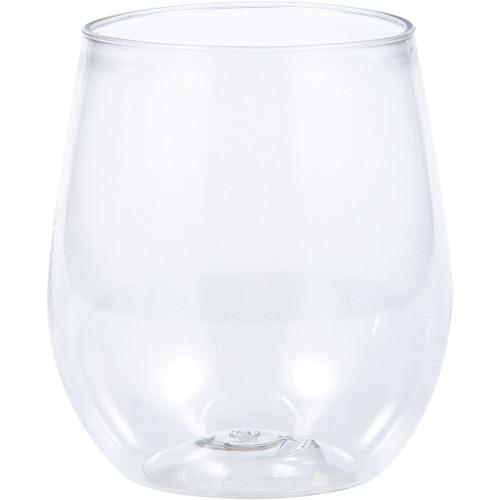 Clear 14 oz Premium Plastic Stemless Wine Glass