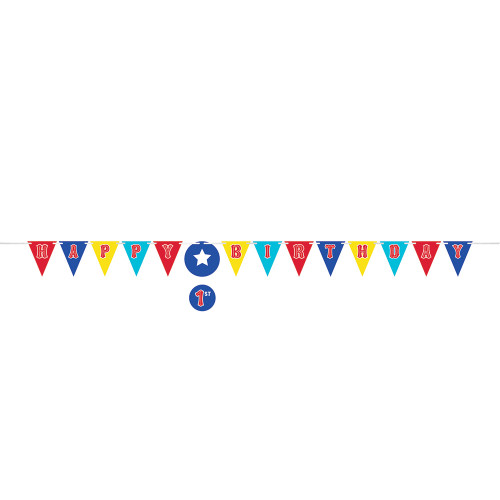 Circus Party Shaped Ribbon Banner with Sticker