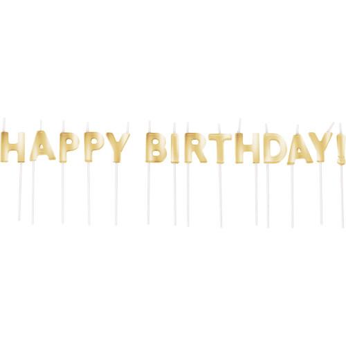 Gold Happy Birthday Pick Candle Set